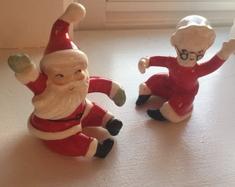 Vintage Christmas Candle Huggers - Santa and Mrs Claus