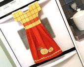 Fall Kitchen Dish Towel / Tea Towel Dress in Golden Yellow and Burnt Orange with Pumpkins
