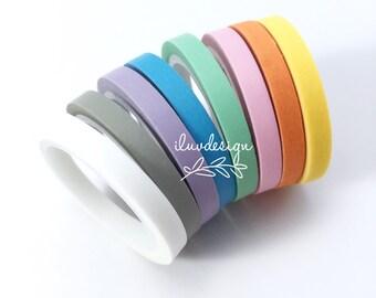 Slim Washi Tape Set (8 Rolls/Pkg) Thin Washi Tape Set • Pastel Solid Color (153819)