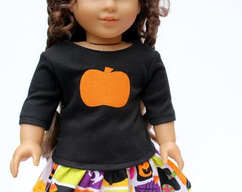 Fits like American Girl Doll Clothes - Pumpkin Tee Shirt and Halloween Ruffle Skirt, Made To Order