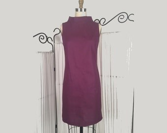 Alena Designs - Carla - Sheath Shift Sleeveless Dress with Funnel Collar Cotton Linen - Purple
