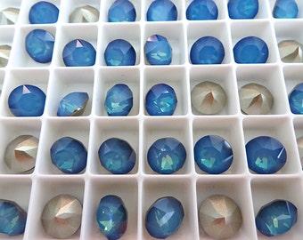 12 White Opal Sky Blue Foiled Swarovski Crystal Chaton Stone 1088 39ss 8mm