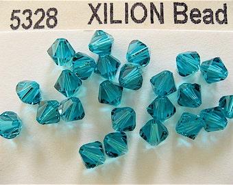 20 Blue Zircon Swarovski Crystals Bicone 5328 6mm