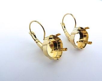 1 Pair Diamond Shape Gold Plated Lever Back Earrings for Swarovski 12mm 4470