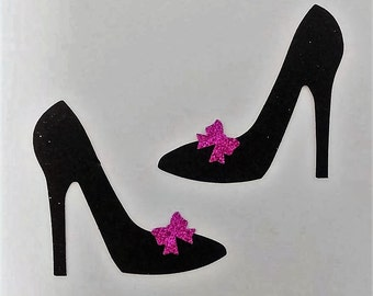 12 Pairs Black Glitter High Heel Die Cuts With Your Color Choice of Glitter Bow Die Cut Stickers - Embellishment/Scrapbook/Arts & Crafts