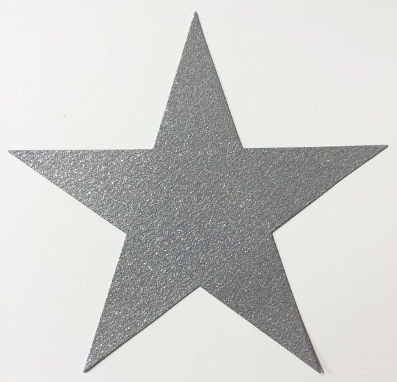 Giant Silver Glitter Card Stock Star Die Cuts - 7-3/4 Inch Size - 10 Stars - Scrapbook Art Craft Military Party Decoration Altered Attic