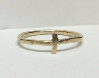 Mens / Women's Gold Cross Ring Large US Size 9 Handcrafted by Maggie McMane Designs