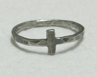 Cross Ring, Rustic Sideways Cross, Oxidized Silver Ring, Size 11.5, Christian Faith Jewelry. Mens Ring, Womens Ring by Maggie McMane Designs