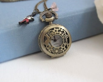 SPECIAL SALE Mad Tea Party. Alice in Wonderland. Mr White Rabbit with Pocket Watch. Pink Czech Glass Bell Flower Antiqued Bronze Necklace