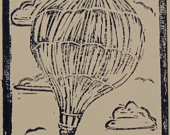 Hot Air Balloon Print, Balloon Art Print, Transportation Print, Vintage Inspired Hot Air Balloon, Whimsical Art Print, Navy Blue Nursery Art