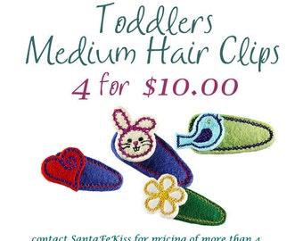 Toddlers Felt Hair Clips, Girls Felt Hair Barrettes, Birthday Party Favors for Girls