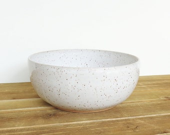 Stoneware Pottery Serving Bowl in Glossy White Glaze
