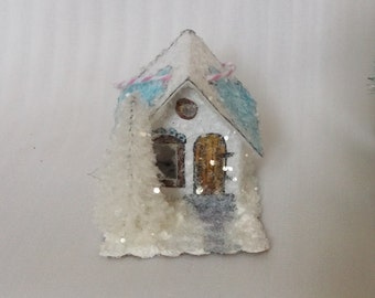 Vintage Putz Style Handmade Reproduction Tiny Miniature White Glitter Sugar House Cottage with Pine Tree for your Christmas Village Ornament