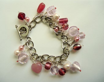 Pink Blush 20+ bead charm bracelet -ready to ship with free gift bag/box
