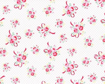 White and Pink Ribbon Bouquet 31378 20 Fabric by Lecien Flower Sugar Sweet Carnival