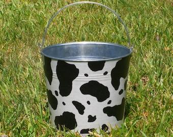 Cow Print Galvanized Metal Jr. Bucket