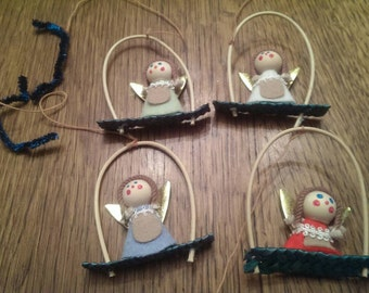 4 Vintage Angels on Swings Ornaments