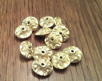 12 Metal Spacer Beads in Brass Tone