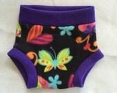 Fleece Diaper Cover --- Butterflies Hearts Flowers
