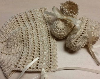 Christening Crochet Bonnet and Booties Baby Boy Cream Ribbons Newborn or Reborn Doll