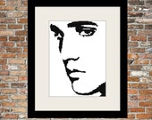Elvis Counted Cross Stitch Black and White Pattern