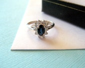 Petite 14kt White Gold Sapphire and Diamond Engagement Ring Size 5.5