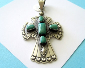Navajo Sterling Silver and Turquoise Cross Pendant