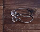 Rustic Sterling Silver Clear Quartz Earrings - Long Oxidized Silver Wire Earrings - Simple Single Drop Earrings - Rock Crystal Earrings