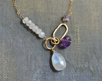 14kt Gold Moonstone Necklace - Purple Amethyst Necklace - Dainty Gold Necklace - Gold Link Necklace - Asymmetric Necklace