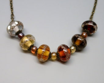 Lampwork Bead Necklace, Coffee Brown to Pale Amber, Beaded Jewelry