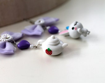 White bunny rabbit  and teapot earrings fairy kei Alice in Wonderland