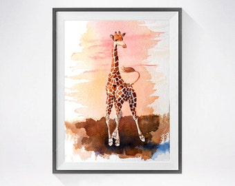 Giraffe ORIGINAL Watercolor Painting / Wild nature African zoo animal art / Color field orange sunset / illustration / Nursery / 11 x 7