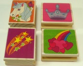 Set Of Four Children's Wood Mounted Rubber Stamps Crown Rainbow With Hearts Pony And Shooting Stars
