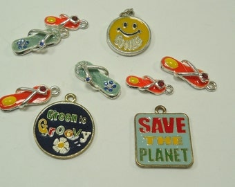 Hippie Enameled Bits And Baubles Embelishments For Jewelry Making, Paper Crafting, Scrapbooking