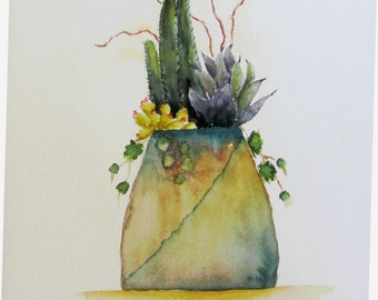 original southwest inspired watercolor painting, 11x14 watercolor, cactus in pot southwest watercolor
