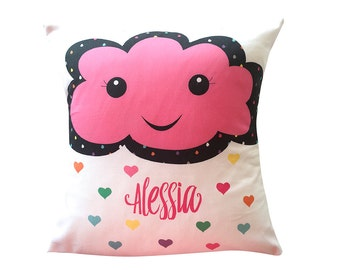 Happy Pink Cloud Girls Personalised Cushion