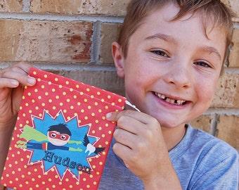 Boys Superhero Personalised Tooth Fairy Bag