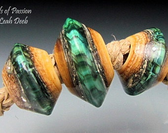 Glass Beads of Passion BHB Leah Deeb Lampwork - 3pc Deep Teal Green Crackle Big Holes