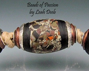 BHB Glass Beads of Passion Leah Deeb - 3pc Rich Organic Big Hole Double Capped Set