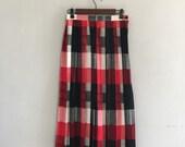 Red plaid skirt 1970s pleatted skirt midi skirt large print plaid long skirt