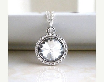 Clearance SALE Swarovski Crystal Necklace Rivoli Pendant Sterling BN16