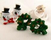 Vintage Christmas Post Earrings, White Hoops, Holiday Wreath Post Earrings, 3 Pair Xmas Post Earring Set, Snow Man Earrings (E228)