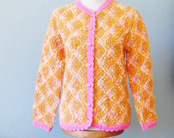 Vintage 1960s Cardigan Sweater Jack Winter Loopy Wool Knit in Pink, Orange and Green Spring Cute