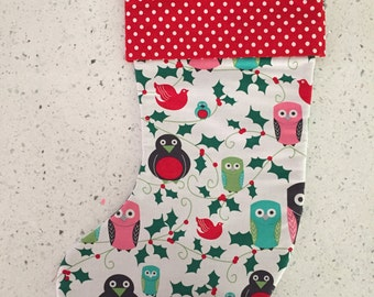 Christmas X'mas Stocking - Holiday Owls