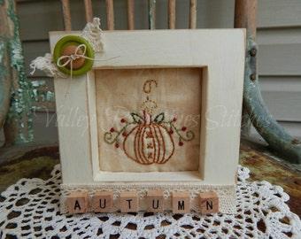 Decorative Autumn Framed Stitchery, Pumpkin, Candle, Fall, Fall Decor