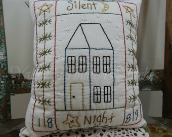 Hand Stitched, Decorative Pillow, Winter Scene, Snowflakes, Saltbox House, Silent Night
