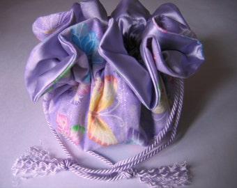Jewelry Bag Pouch Butterflies Lavender Pink Lime