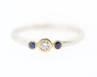 Diamond and Sapphire Gold and Silver Stackable Ring Dot Hammered Band 18 Karat Gold Luxe Alternitive Bride Artisian Jewelry Metalsmith