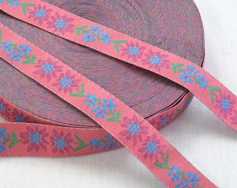3 Yards Pink Floral Jacquard Ribbon Sewing Trim, Hot Pink & Blue Flowers - Sewing Supplies, Trim, Notions, Decorative Tape, Ribbon