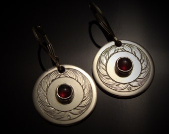 Hand Engraved Garnet And Sterling Silver Earrings